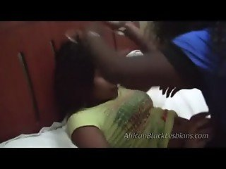 2 African beauties go naughty on each other in this amateur scene