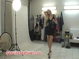 Real curvy blonde during backstage photoshoot
