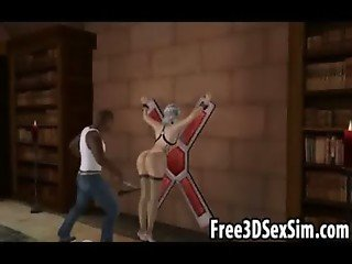 Foxy 3D cartoon hottie getting whipped in a dungeon