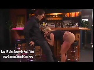 Sexy Blonde's Pussy Eaten Out Inside Bar