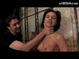Girl On Her Knees Tied To Wall Getting Her Pussy Fingered Mouth Fucked In The Basement