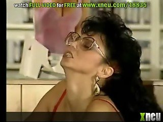 Lustful Retro Brunette With Glasses Sucks And Fucks Many Cocks