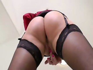 Big ass mature slut rides cock and bounces her fake tits all over