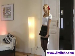 Blonde in mini skirt and old man