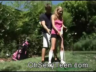 Amateur teen blonde Sucking At Golf