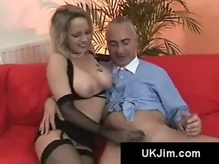 Blonde slavic busty beauty sucks on an british old farts saggy cock