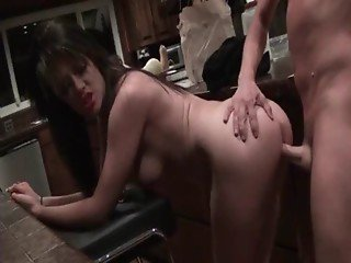Brunette nympho riding cock on the floor