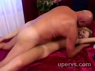 Slutty young blondie gets her fresh pussy pumped by dirty grandpa