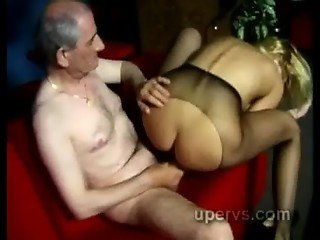 Horny grandpa shows his skills fucking young blond beauty in pantyhose