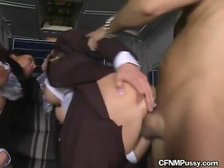 Hot Blonde Stewardess Takes Two Passengers To Herself