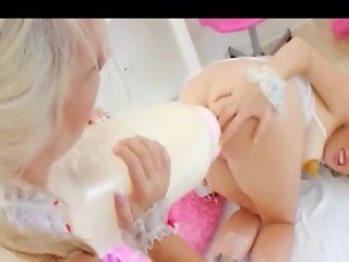 Milk enema directly from her analhole
