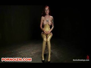 Chained and Suspended Slave Tricia Oaks Lesdom BDSM Training