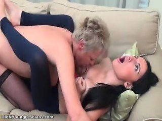 Horny mature blonde lesbian with a short
