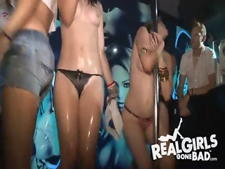 Amateur girlfriends get naked in wet t-shirt contest compilation #27