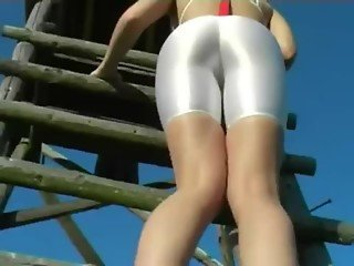 White Spandex Shorts Full