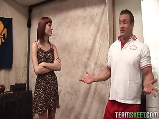 redhead perky titty teen rammed hard by her coach