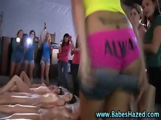 Naughty sorority teen lesbian pledges