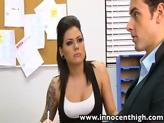 InnocentHigh Tattooed Goth teen Karmen Karma fucked facialized