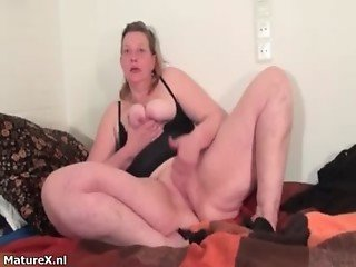 Dirty fat whore goes crazy masturbating