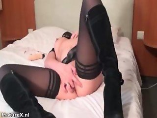 Nasty fat bitch goes crazy masturbating