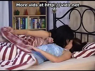 Two brunette lesbian teen girls playing