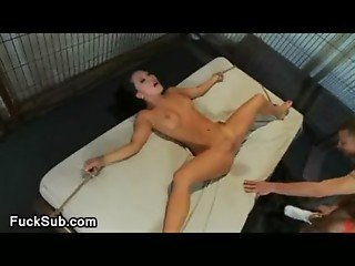 Asian hottie gagged and bound in basement