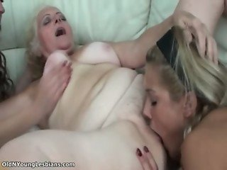 Lucky old busty lesbian gets her hairy