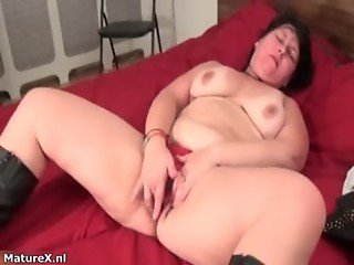 Busty fat brunette woman really enjoys