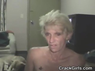 Dirty Blonde Old Crack Whore Fucked And Takes Cumshot