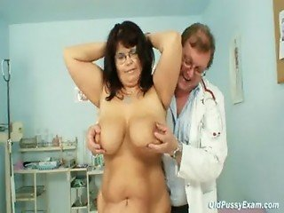 Busty mature woman Daniela tits and mature pussy gyno exam