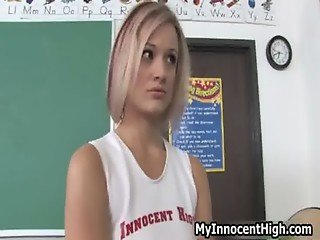 Schoolgirl horny blonde teen has nice