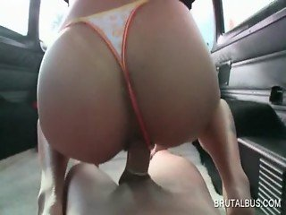 Amateur hottie riding hard shaft in the bus