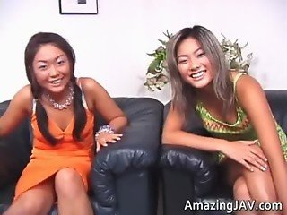 Cute asian lesbian threesome video