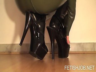Angela in green latex dress awesome handjob