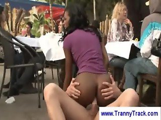 Ebony tranny in a threesome