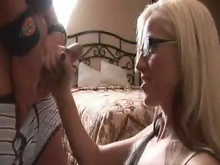blond with glasses beating cock
