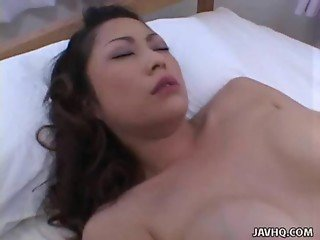 Pale and horny brunette Marie Sugimoto gets her puss from http://alljapanese.net