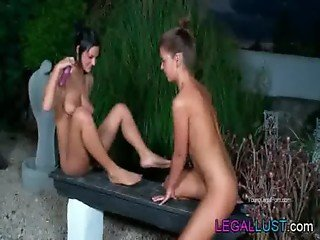Lesbian teen girls toy pussies