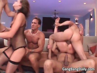 Great group sex scene with two girl