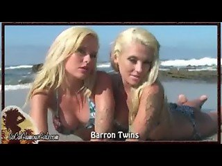 Busty Blonde Twins in Bikinis Strip