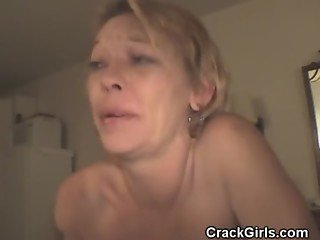 Dirty Blonde Crack Whore Sucks Cock For Cash