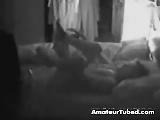 Hidden cam catches my mom rubbing her pussy on bed