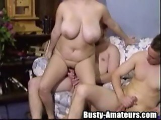 Busty Helena banged by two cock