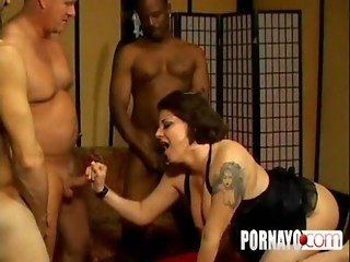 Interracial Gangbang With Creampie And DP