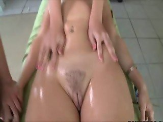 Sensual massage turns into making out and muff diving