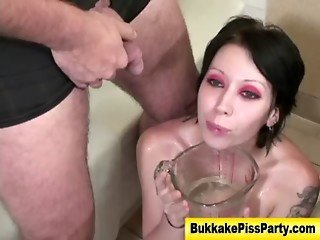 Fetish nasty whore gets pissed on
