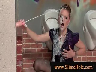 Drenched woman cant get enough cum from gloryhole
