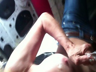 Chris Bang presents Jacksonville Florida Granny getting cum off her titties.