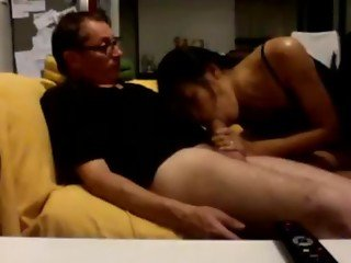 Thai Girl Gives A White Guy A Blowjob