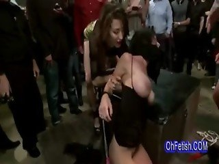 brunette with big boobs fucked hard in public